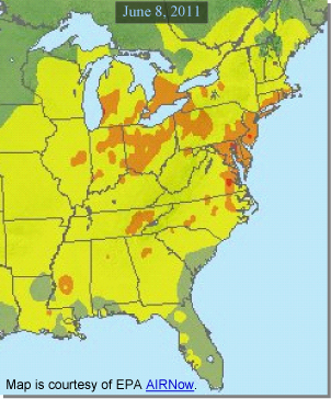 View of air quality over the eastern seaboard