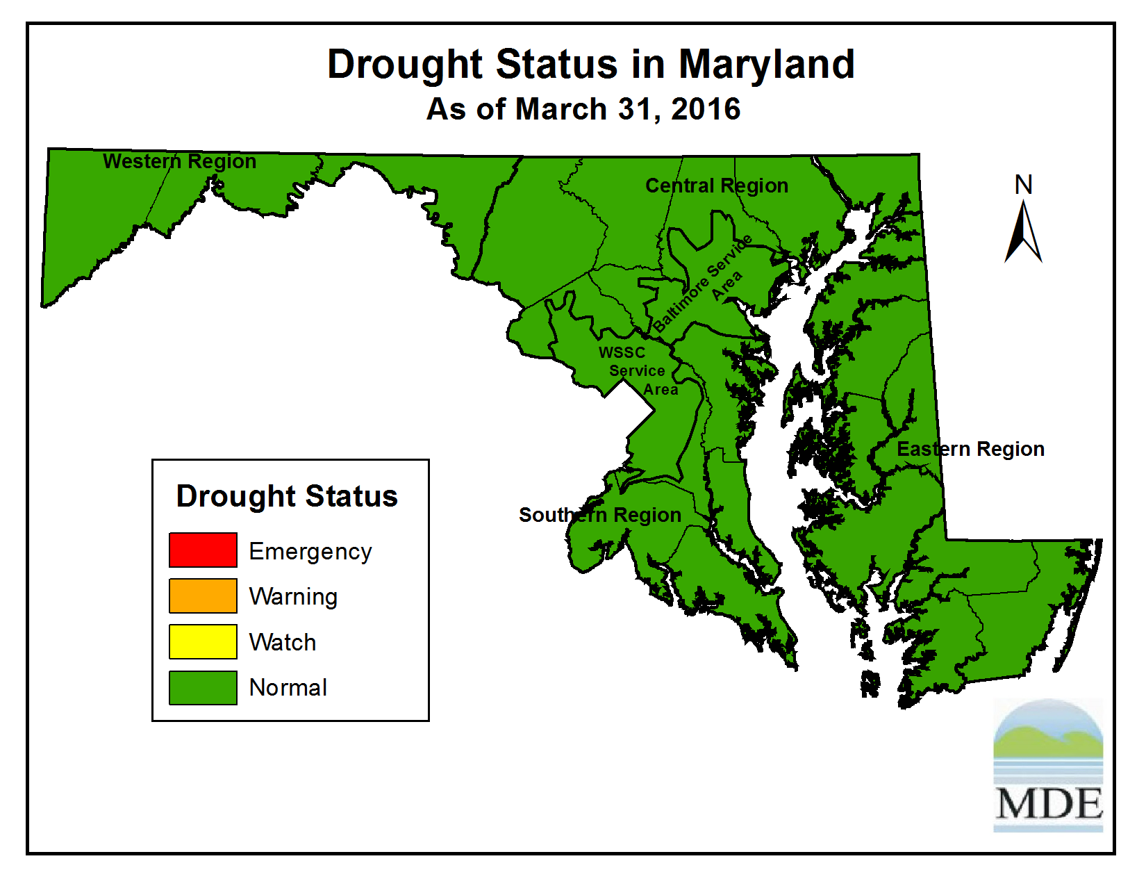 Drought Status as of March 31, 2016