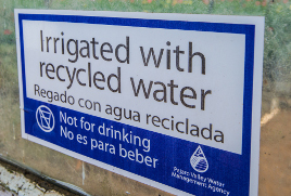 Irrigated with recycled water sign